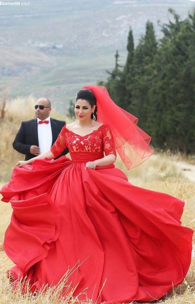 Design Bridesmaid Dresses Hijab Dddy Designer Hijab evening Dress for Chubby Girls Half Sleeve Lace Appliques top Puffy Taffeta Skirt Long Plus Size Red evening Gown Cheap Designer