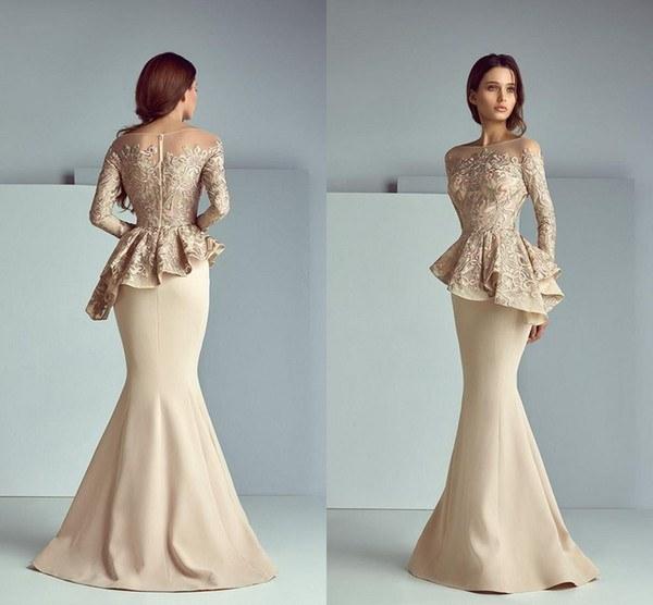 Design Bridesmaid Hijab Dress 8ydm Champagne Lace Stain Peplum Long evening formal Wear Dresses 2019 Jewel Neck Long Sleeve Dubai Arabic Mermaid Prom Dress Saiid Kobeisy Y Long