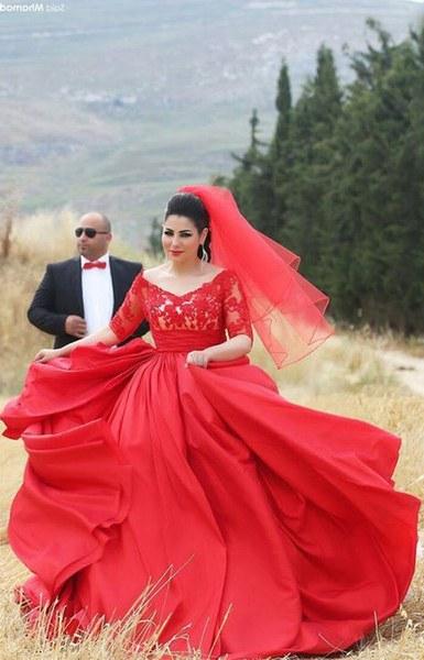 Design Bridesmaid Hijab Dress Kvdd Designer Hijab evening Dress for Chubby Girls Half Sleeve Lace Appliques top Puffy Taffeta Skirt Long Plus Size Red evening Gown Cheap Designer