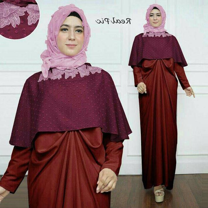 Design Model Baju Gamis Untuk Resepsi Pernikahan J7do Gamis Pesta Model Kaftan Kombinasi Cape Modern Maxmara Rubia
