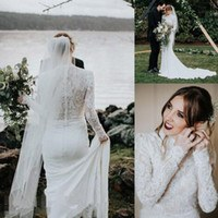 Design Model Dress Bridesmaid Hijab Dddy High Neck Country Mermaid Wedding Dresses with Long Sleeve 2019 Simple Lace Stain Muslim Hijab Style Bohemian Trumpet Wedding Gown