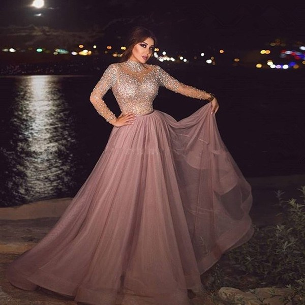 Design Model Dress Bridesmaid Hijab Dwdk High Neck Dusty Pink Muslim evening Dress Illusion Long Sleeve Crystal Beaded Plus Size Arabic formal Dresses for Women Dubai Prom Gowns evening