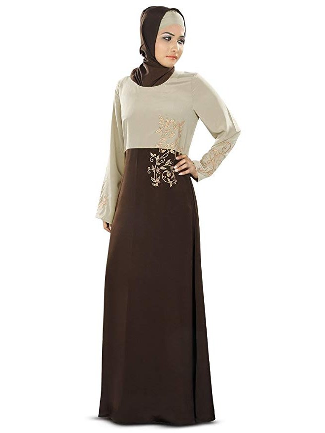 Design Model Dress Bridesmaid Hijab Tqd3 Mybatua Warm Grey & Brown Designer Beautiful Embroidery