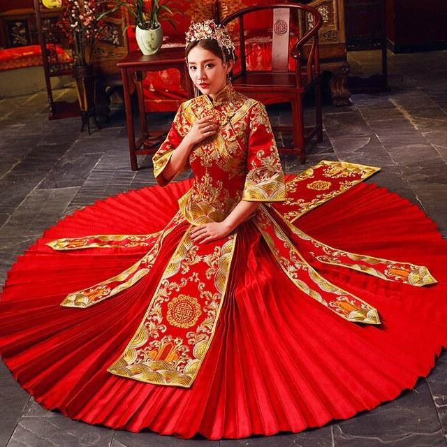 Design Seragam Gamis Untuk Pernikahan E6d5 Wanita Cina Merah Qipao Buatan Tangan Bordir Pengantin Pernikahan Pleated Gaun Gaun Kostum Kuno Bunga Cheongsam Pernikahan Hadiah Di Set Dari Novelty