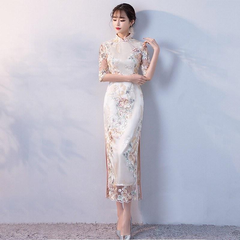 Ide Gamis Pesta Pernikahan 0gdr Us $43 68 Off Pesta Pernikahan Cheongsam oriental Gaun Malam Tradisional Cina Wanita Elegan Qipao Seksi Jubah Panjang Retro Vestido S M L Xl Xxl