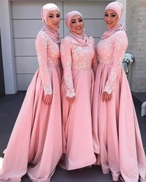Ide Gaun Bridesmaid Hijab Ipdd Arabic Dubai 2017 New Design Muslim Pink Bridesmaid Dresses Lace Applique Long Sleeves Maid Of Honor Dress Bridesmaid Gowns for Wedding