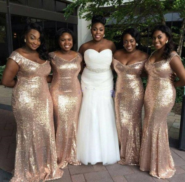 Inspirasi Baju Bridesmaid Hijab Txdf Sparkly Rose Gold Sequins 2019 Mermaid Bridesmaid Dresses F Shoulder Plus Size Beach Wedding Guest Dresses Light Gold Champagne Backless