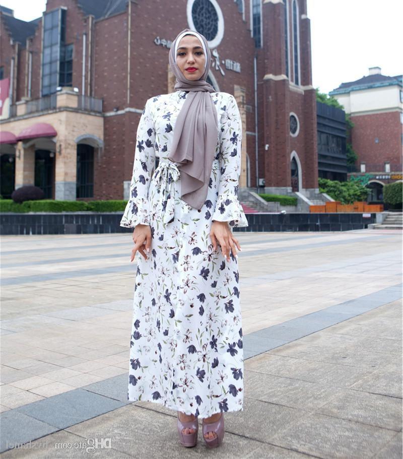 Inspirasi Bridesmaid Indonesia Hijab Zwdg White Black Modern Women Floral Print Maxi Dress Plus Size islamic Long Sleeved Kaftan Dress