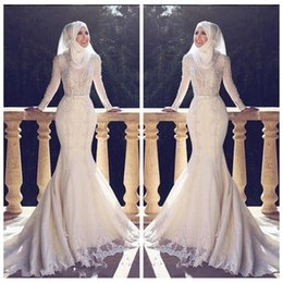 Inspirasi Desain Baju Bridesmaid Hijab Wddj Muslim Slim Fishtail Arabic Style Mermaid Wedding Dresses Long Sleeves Lace Applique O Neck Hijab Mermaid Long Bridal Gowns