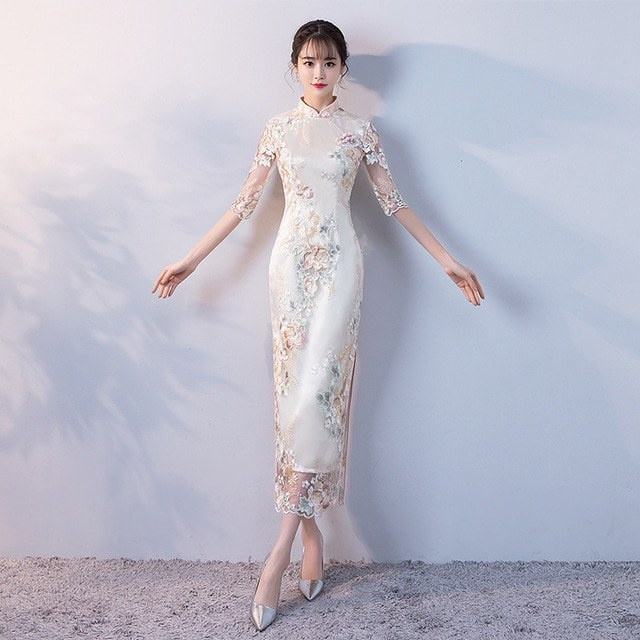Inspirasi Gamis Untuk Pesta Pernikahan Zwdg Us $43 68 Off Pesta Pernikahan Cheongsam oriental Gaun Malam Tradisional Cina Wanita Elegan Qipao Seksi Jubah Panjang Retro Vestido S M L Xl Xxl
