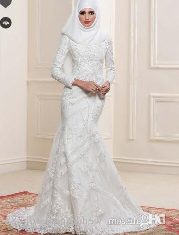Inspirasi Hijab Bridesmaid Dress 3id6 Lace Sequins Mermaid Arabic Wedding Dress with Hijab