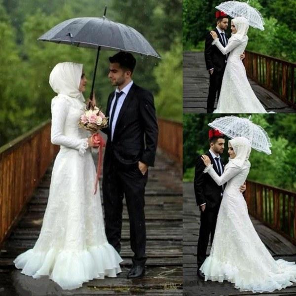 Inspirasi Hijab Bridesmaid Dress Drdp Discount Muslim Hijab Wedding Dresses Long Sleeve Elegant Lace Appliques High Neck Bridal Gowns Custom Made Plus Size Wedding Dress Ball Wedding