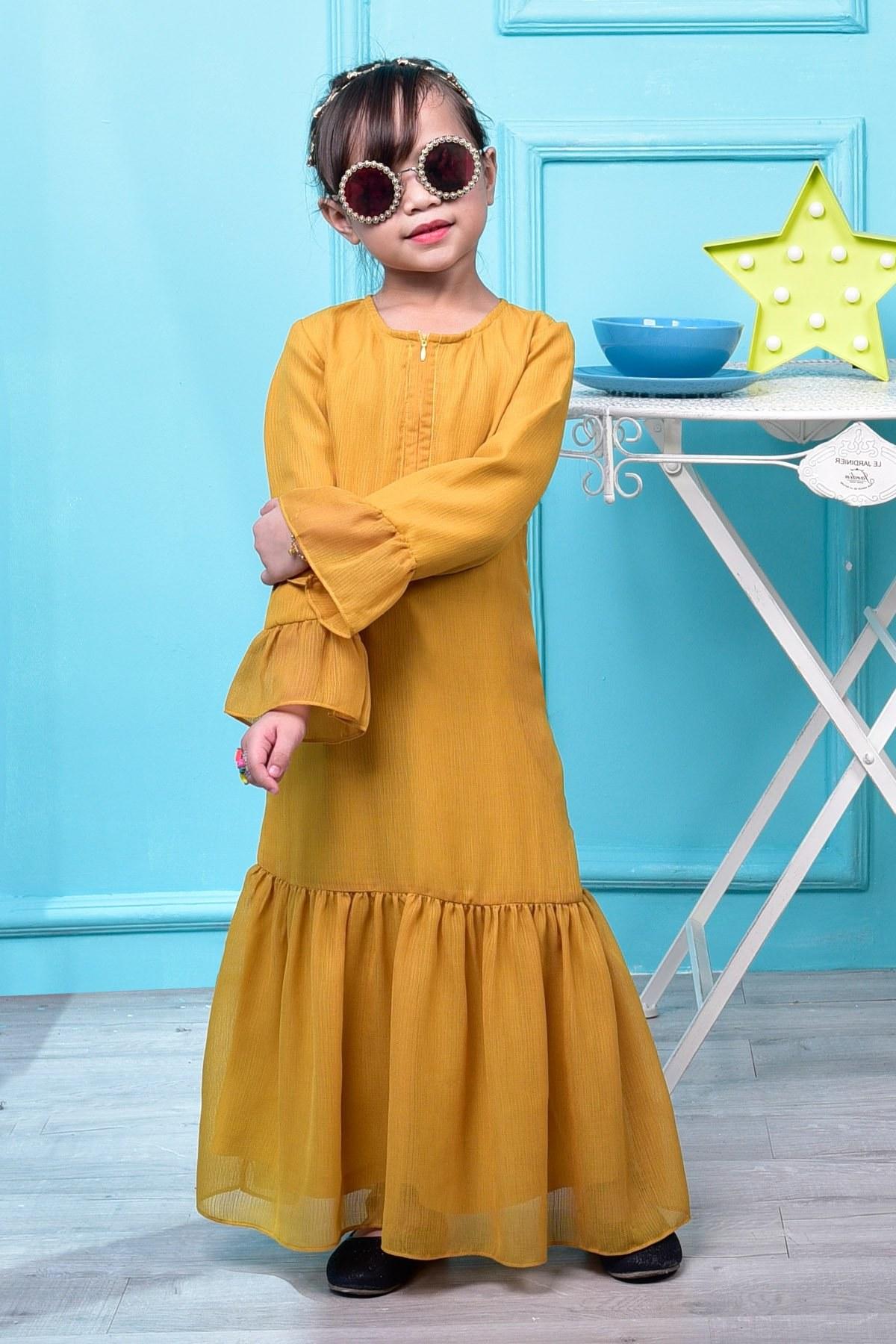 Inspirasi Model Baju Bridesmaid Hijab 2018 87dx Abaya Mayangsari Kids Cream Mustard