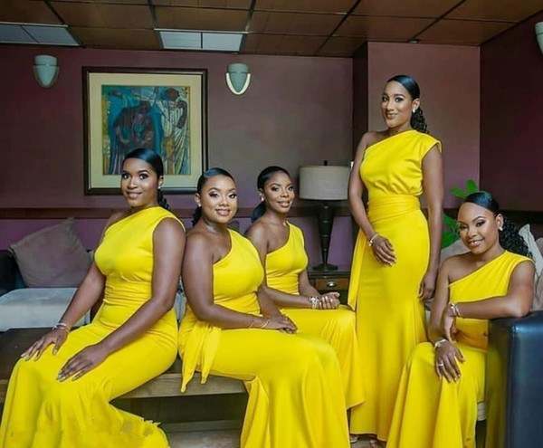 Inspirasi Model Baju Bridesmaid Hijab 2018 Whdr Yellow E Shoulder Sheath Bridesmaid Dresses African Satin Mermaid Prom Party Dress with Sash Pleats Long formal Wedding Guest Gowns