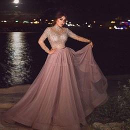 Inspirasi Ootd Hijab Bridesmaid 3id6 High Neck Dusty Pink Muslim evening Dress Illusion Long Sleeve Crystal Beaded Plus Size Arabic formal Dresses for Women Dubai Prom Gowns
