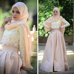 Inspirasi Ootd Hijab Bridesmaid 9ddf 2 Piece Muslim evening Dress Long Sleeve Lace top Champagne Satin Skirt Hijab Arabic Prom Gowns A Line Floor Length formal Party Dress Aw453