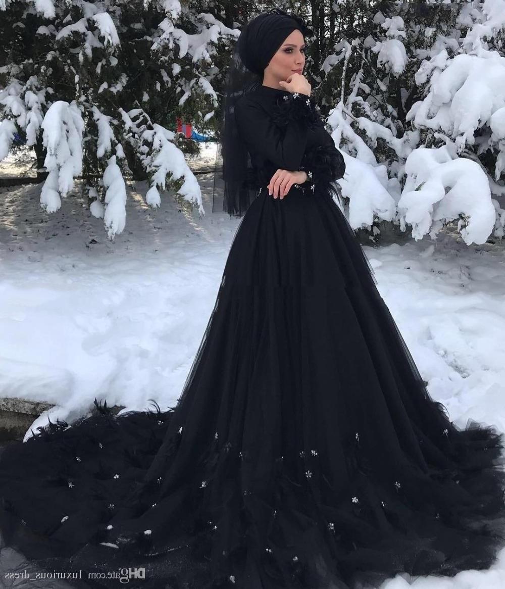 Inspirasi Ootd Hijab Bridesmaid Drdp Discount Gothic Black Long Sleeves islamic Muslim Wedding Dress Hijab High Neck Crystal Feather Court Train Arabic Dubai Wedding Dresses Wedding Gowns