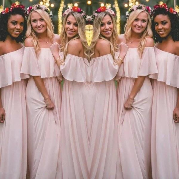Inspirasi Ootd Hijab Bridesmaid Irdz Latest Blush Pink Bohemian Style Bridesmaid Dresses Y Ruched F Shoulder Chiffon Long Prom Dresses Cheap Pretty Party Dress for Weddings