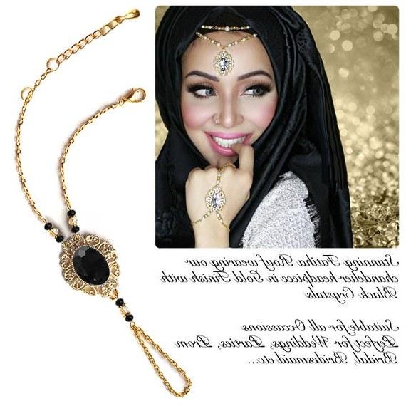 Inspirasi Ootd Hijab Bridesmaid Whdr Gold Silver Black Crystal Kundan Indian Jewelry Matha Patti Tikka Head Chain Bollywood Grecian Hijab Jewellery Bridal Hair Piece Wedding