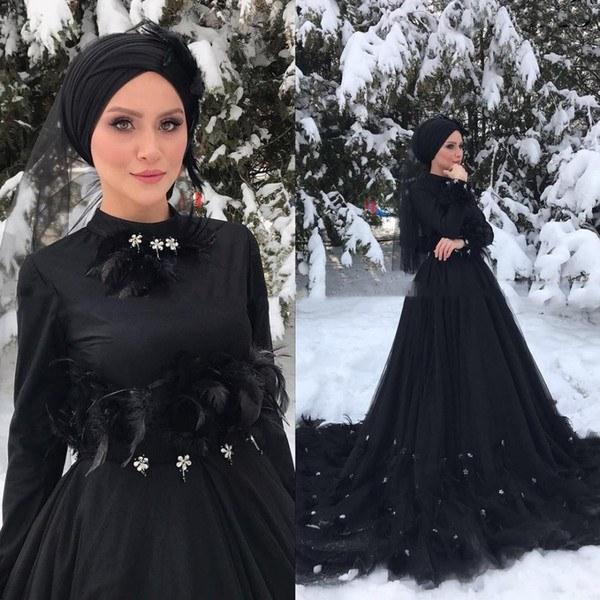 Inspirasi Ootd Hijab Bridesmaid Y7du Discount Gothic Black Long Sleeves islamic Muslim Wedding Dress Hijab High Neck Crystal Feather Court Train Arabic Dubai Wedding Dresses Wedding Gowns