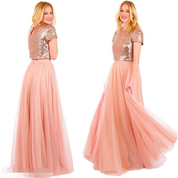 Model Bridesmaid Hijab 3id6 Two Pieces Blush Long Tulle Country Bridesmaid Dresses 2018 Rose Gold Sequins Skirt Short Sleeve Jewel Neck Wedding formal Gowns for Party Cheap