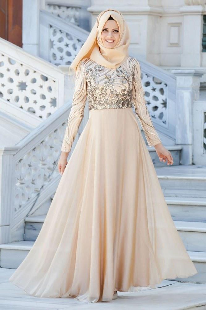 Model Design Bridesmaid Hijab Rldj Neva Style evening Dress Lace Detailed Gold Hijab Dress