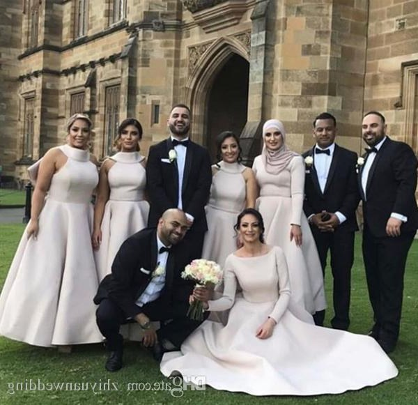 Model Dress Bridesmaid Hijab Ftd8 Arabic Muslim Long Sleeves Hijab Bridesmaid Dresses Satin with Bow A Line V Neckline Hijab Wedding Guest Dresses Bridesmaid Dresses Beach Wedding