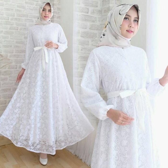 Model Gamis Syari Untuk Pesta Pernikahan Ipdd Gamis Pesta Full Brokat Kekinian Modern Jual Gamis Modern