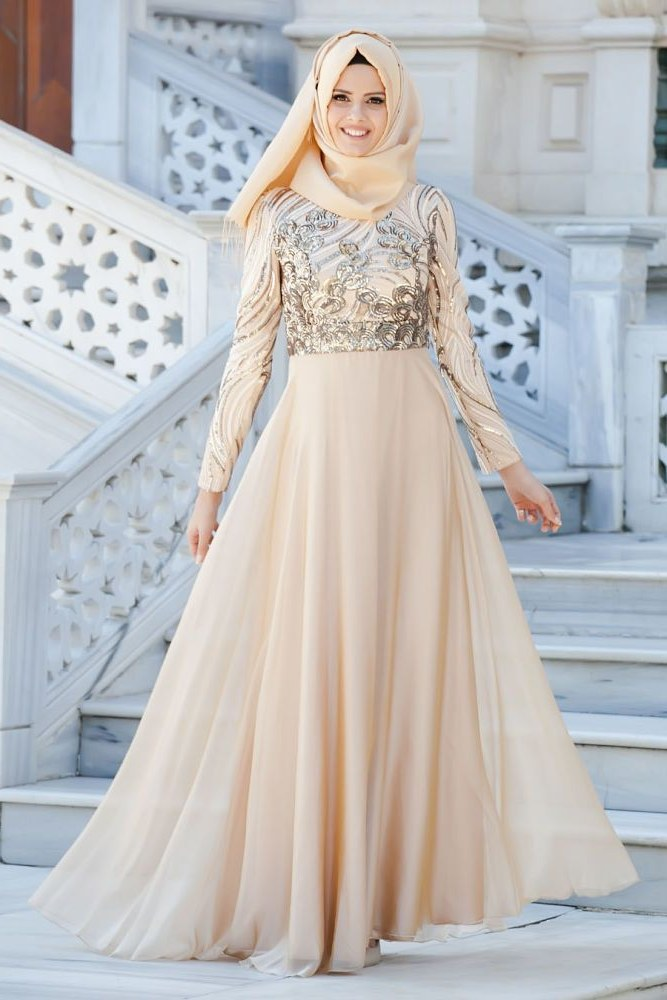Model Hijab Bridesmaid Dresses Zwdg Neva Style evening Dress Lace Detailed Gold Hijab Dress