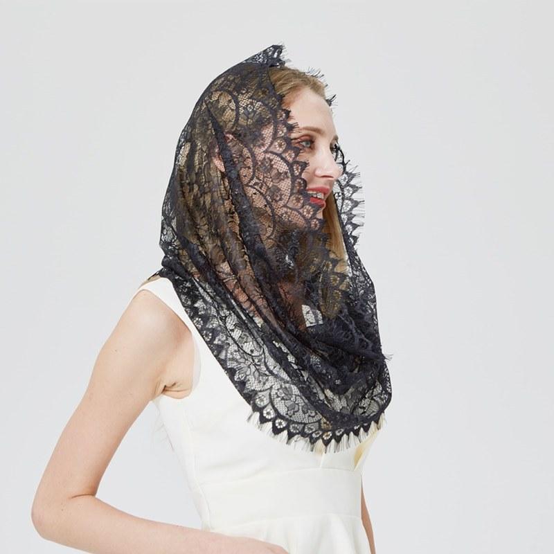 Model Model Bridesmaid Hijab 2019 Ftd8 Us $7 68 Off Aliexpress Buy Design Women soft Black White Lace Scarf Rings La S Shawls Foulard Femme Headband Wedding Hijab Church Scarves