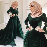 Model Model Bridesmaid Hijab 2019 Whdr Dark Green Velvet Muslim Prom Dresses High Neck Appliqued Plus Size evening Gowns Long Sleeves Hijab Kaftan Dubai Overskirt formal Dress