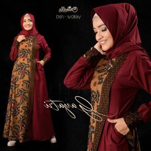 Model Model Gamis Batik Untuk Pesta Pernikahan Ftd8 √ 60 Baju Gamis Batik Cantik Desain Kombinasi Modern Trend