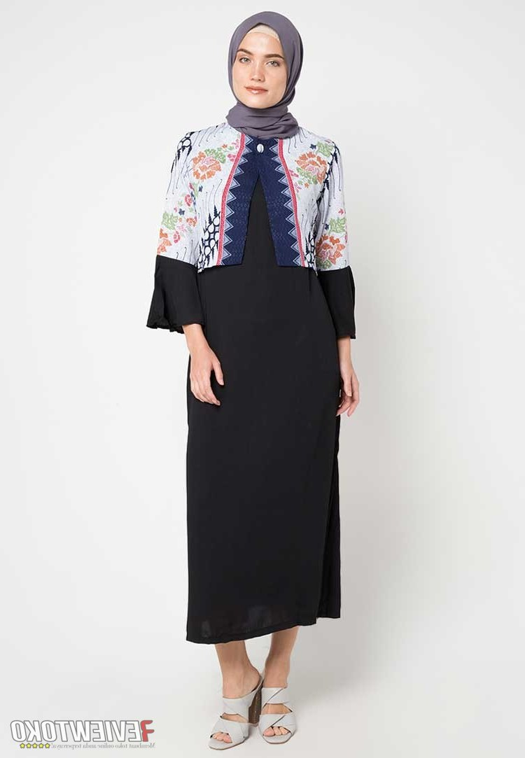 Model Model Gamis Batik Untuk Pesta Pernikahan U3dh Model Gamis Batik Sarimbit Kombinasi Hitam