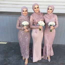 Model Model Seragam Bridesmaid Hijab 0gdr 2017 Custom Made Designer Sheath Tea Length Lace Country Muslim Bridesmaid Dresses Elegant Long Sleeve Cheap evening Prom Dresses Plus Size