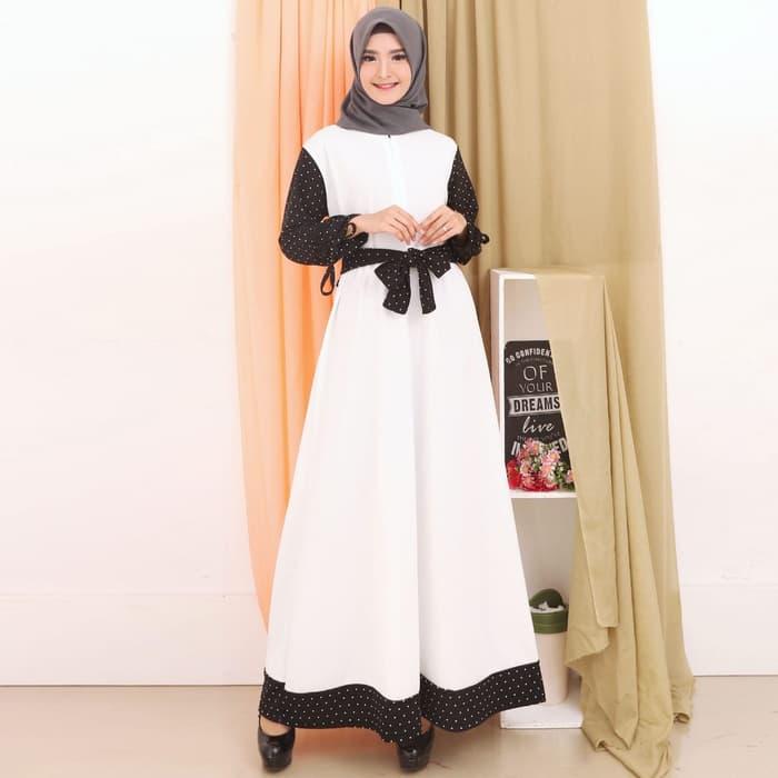 Model Gamis Warna Putih Kombinasi Ragam Muslim