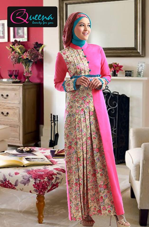 Model Baju Gamis Kombinasi Batik Dan Polos Ragam Muslim