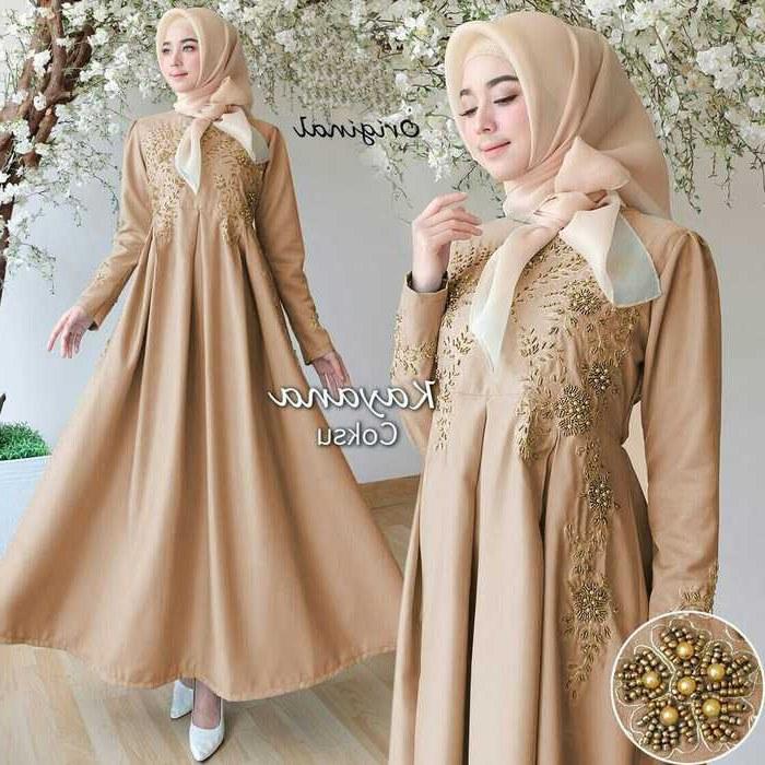Bentuk Baju Lebaran Dewasa 2018 Thdr Trend Gamis Lebaran 2018 Kayana Coklat Susu Model Baju