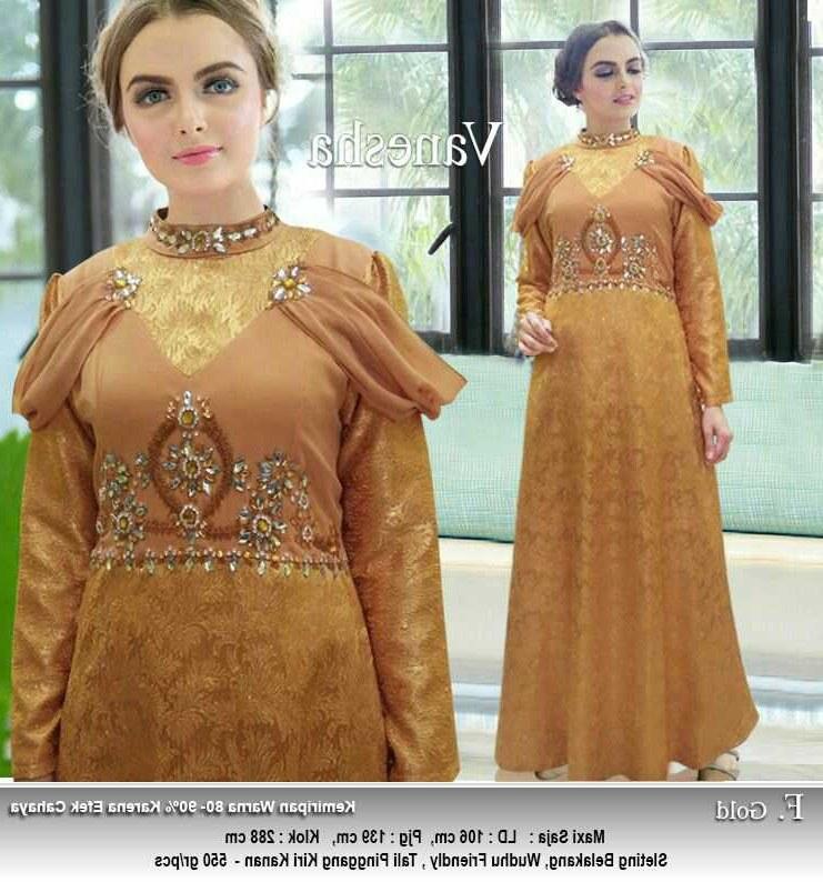 Bentuk Baju Lebaran Gamis 2018 0gdr Gamis Lebaran Terbaru 2018 Vanesha Gold Model Baju Gamis