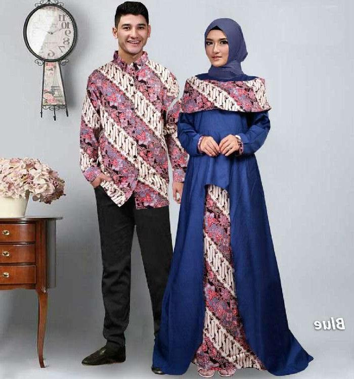 Bentuk Baju Lebaran Kapel J7do Baju Lebaran Terbaru 2018 Couple Batik Sabna Biru Model