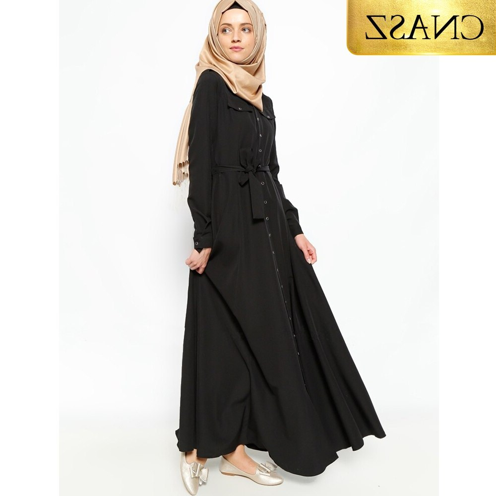Bentuk Fashion Muslim Korea Ftd8 Muslim Korea Hemp Dress Abayas for Women Embroidery