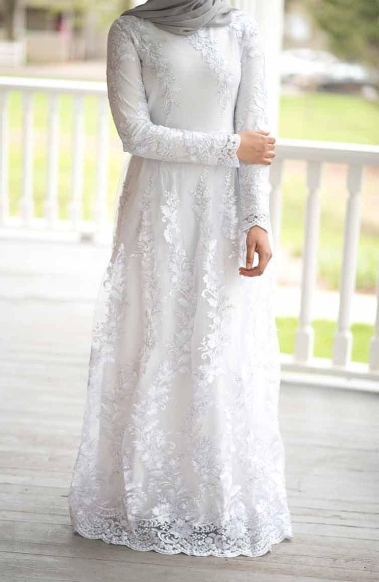 Bentuk Model Baju Lebaran atas Bawah 8ydm 30 Model Gamis Putih Mewah Modern Elegan Brokat