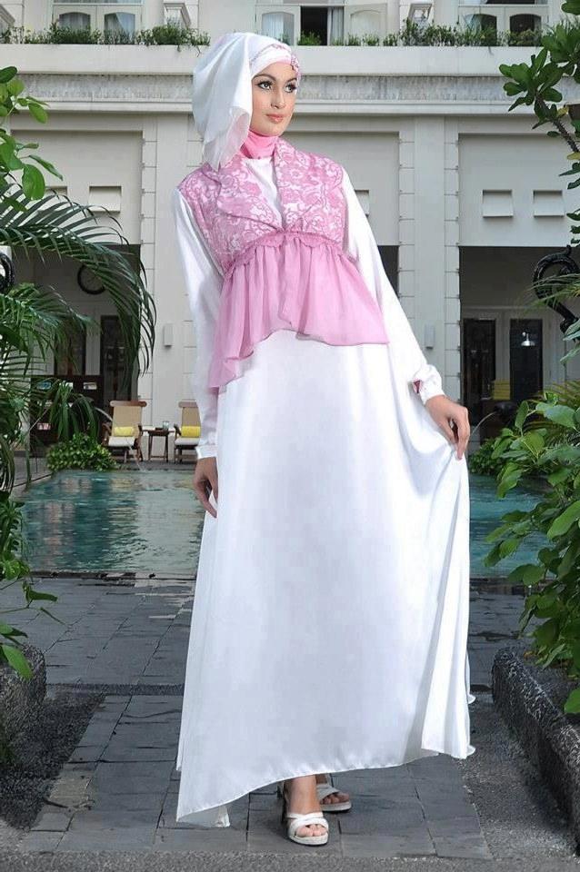 Bentuk Model Baju Lebaran atas Bawah 9ddf 45 Model Baju Muslim Warna Putih Untuk Lebaran Terbaru
