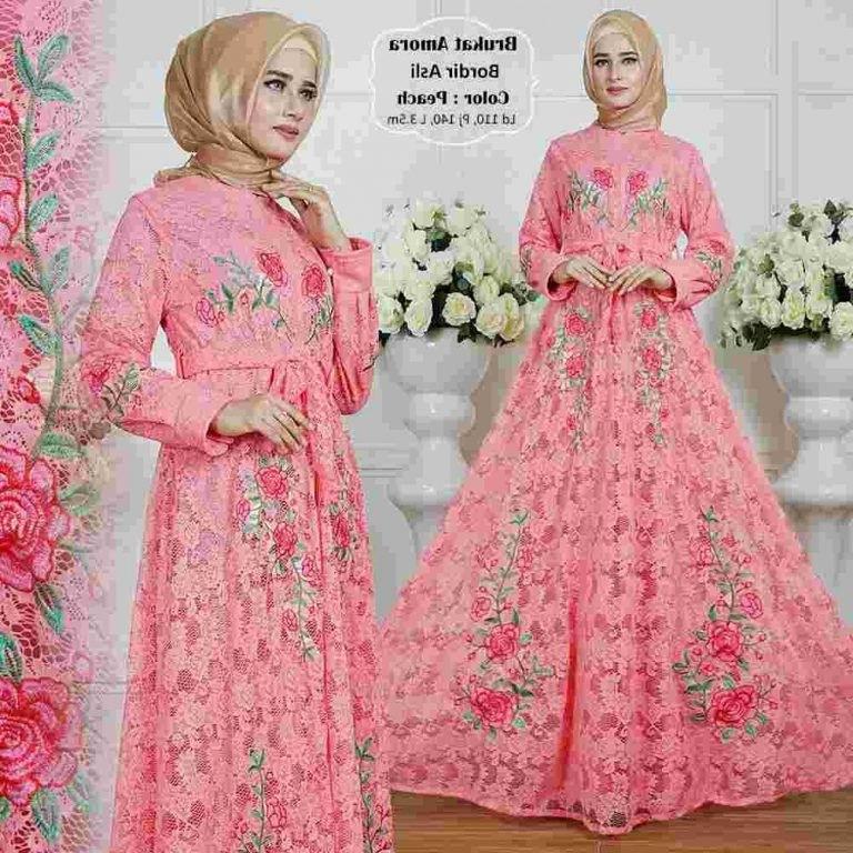 Bentuk Model Baju Lebaran Brokat Fmdf Gamis Lebaran Brokat Terbaru 2018 Amora Peach Model Baju