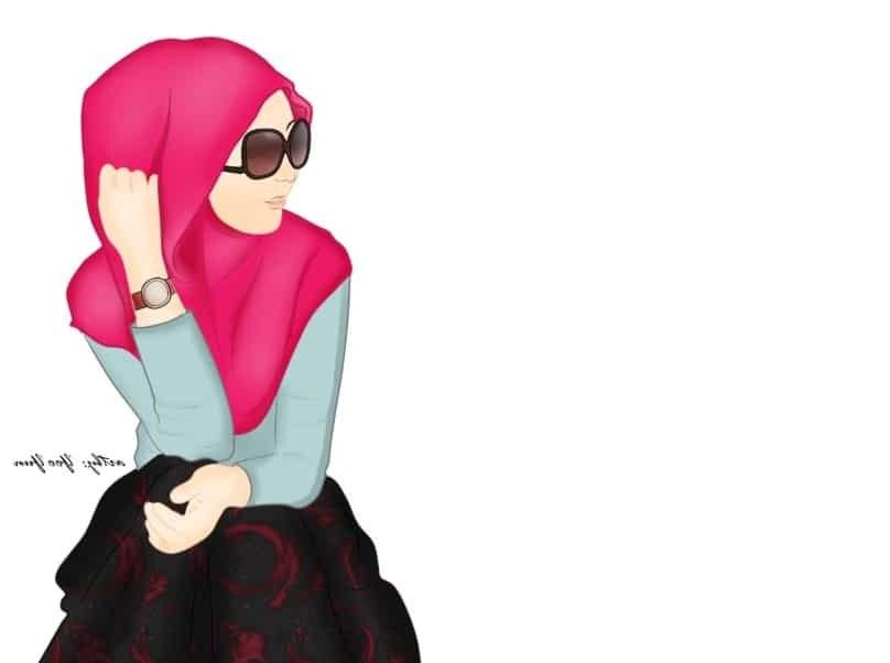 Bentuk Muslimah Bercadar Hitam Bqdd Hijab Animasi Hitam Putih Nusagates