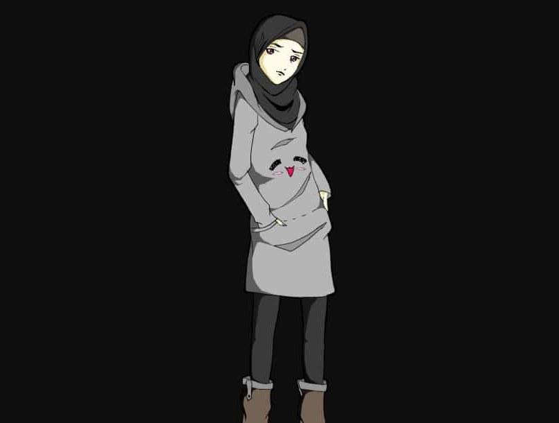 Bentuk Muslimah Bercadar Hitam Gdd0 Hijab Animasi Hitam Putih Gambar islami