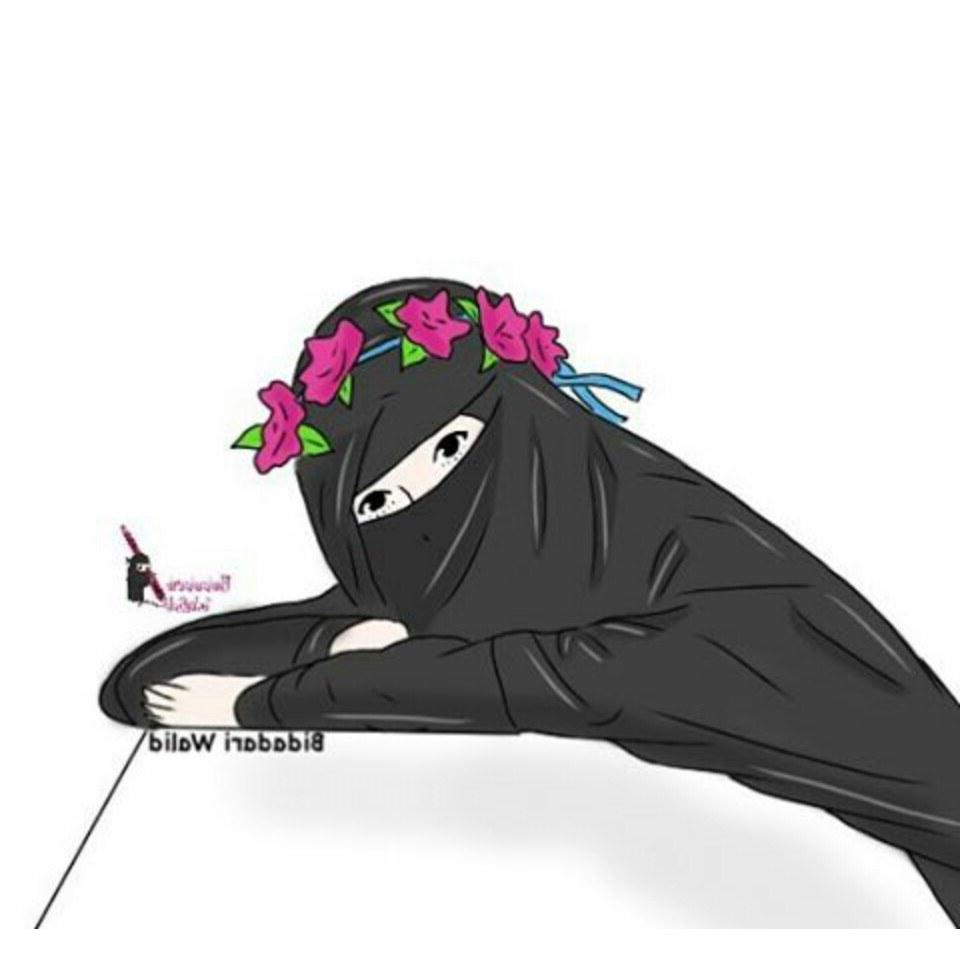 Bentuk Muslimah Bercadar Hitam Txdf Gambar Kartun Muslimah Bercadar