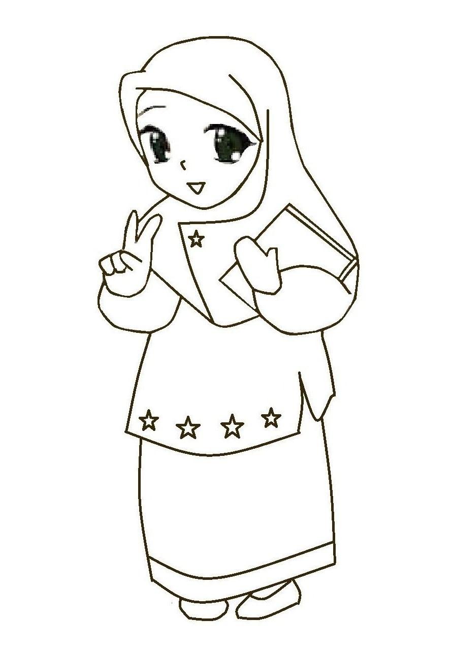 Bentuk Muslimah Bercadar Hitam Whdr Gambar Kartun Wanita Muslimah Hitam Putih