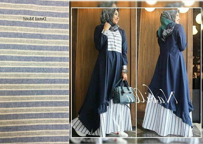 Bentuk Trend Warna Baju Lebaran 2018 9fdy Trend Baju Lebaran 2018 Nabilla Navy Model Baju Gamis
