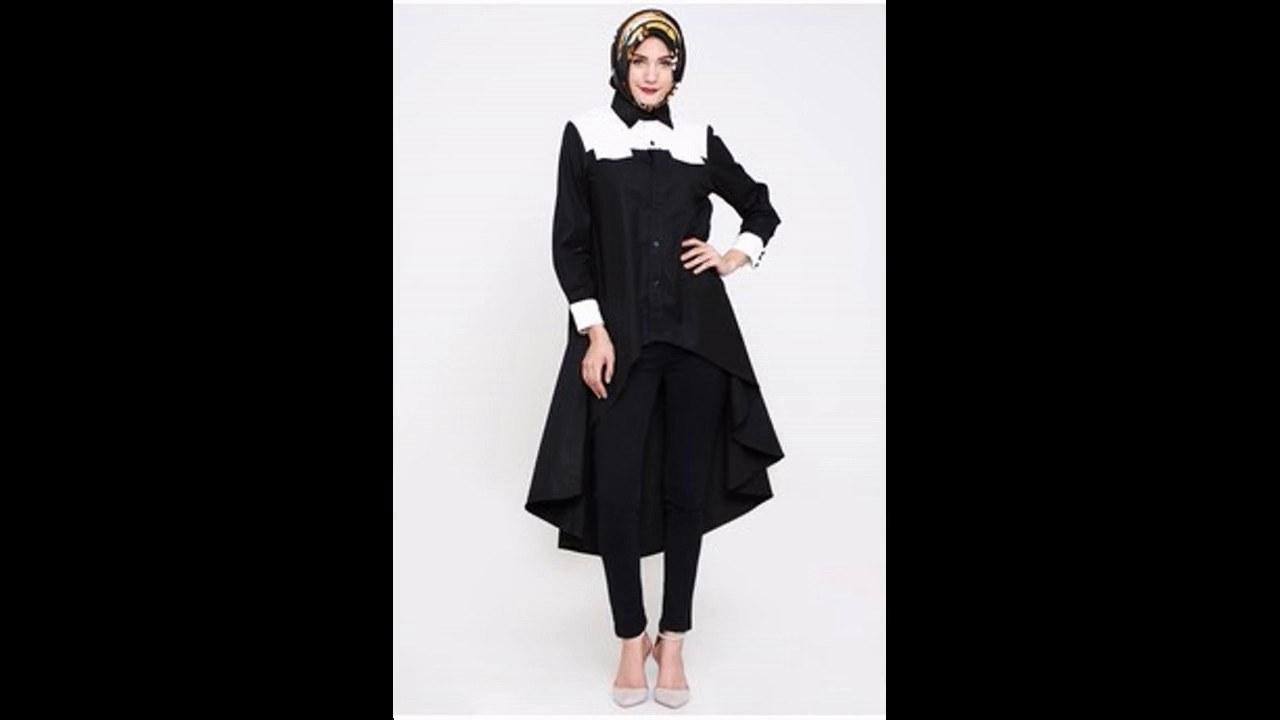 Design Baju Lebaran 2017 Txdf Baju Muslim atasan Blouse Hitam Untuk Lebaran 2017