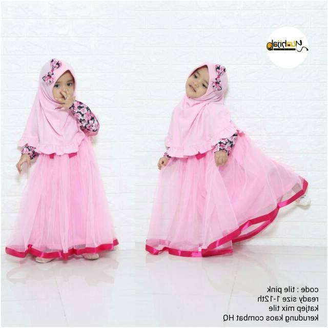 Design Baju Lebaran Anak Umur 11 Tahun Gdd0 Set Baju Pesta Muslim Anak Perempuan Bahan Tutu Tile Umur